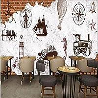 壁画3Dヨーロッパとアメリカのレトロな手描きの灯台航海チャートバーコーヒーショップの背景の壁-500cm(W)x300cm(H)