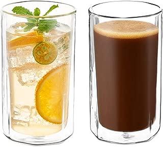 ZENS Double Wall Glass Coffee Mugs,Octagon Insulated Glass Cups Set of 2, 14 Ounce Large Borosilicate Glass Mug for Latte or Tea