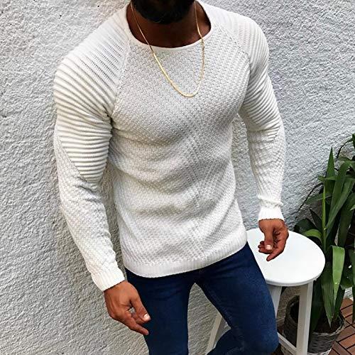 Suéter De Punto A La Moda para Hombre, Suéter De Manga Larga A Rayas con Cuello Redondo Y Color Sólido para Hombre, Suéter Informal Ajustado De Primavera E Invi