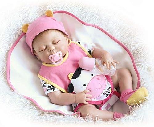 Gyqjs Reborn Babypuppen mädchen, Simulation 22-Zoll-Handgefertigte Realistische Reborn Dolls Weiße Silikon-Geburtstagsgeschenk