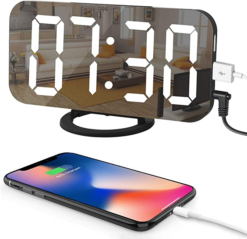 LED Digital Alarm Clock With Large 6 5 Easy Read Display Easy Snooze Function Diming Mode Mirror Surface Dual USB Charging Ports For Bedroom Living Room Office Travel