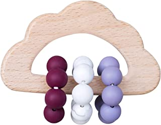 Promise Babe Baby Wooden Teether Rattle Silicone Teething Beads Cloud Shape Wood Pendant Perfect Grasping Nursing Toy