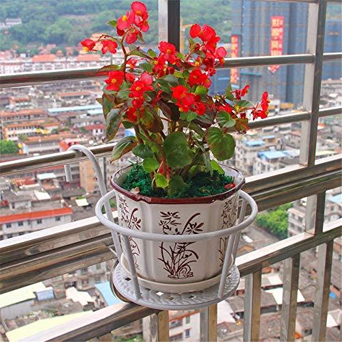 QHGao 2 set voor wandhouders, van smeedijzer, houder voor balkon, houder voor planten, bloempot, zeer geschikt voor terras of veranda