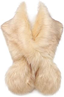 Extra Large Women's Faux Fur Collar Warmer Scarf Wrap for Winter Coat