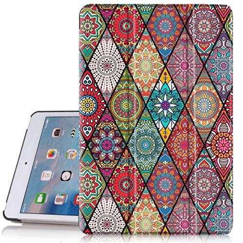 Hocase iPad Mini 5 Case, Folio PU Leather Smart Case w/Unique Flower Design, Auto Sleep/Wake Feature, Microfiber Lining Hard Back Cover for iPad Mini 5 2019/iPad Mini 4 2015 (7.9' Display) - Mandala