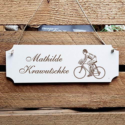 Schild « Radsport » Türschild mit persönlicher Wunschgravur und Motiv - Größe ca. 20 x 6,7 x 0,5 cm - Shabby Dekoration Namensschild Name - Sport Fahrrad Fahrradfahrer Rennrad