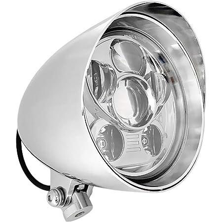 7-LED Bullet HeadLight Visor Cruiser Bikes CHROME or BLACK