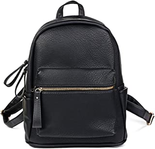 Women Backpack Purse PU Leather Simple Design Casual Daypack Fashion School Backpack for Girls Black