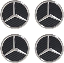 4Pack Mercedes Benz Wheel Center Hub Caps Emblem,75mm Rim Black Carbon hubcaps Fit Benz C ML CLS S GL SL E CLK CL GL Center Cap Badge (Black Carbon)
