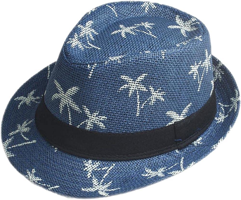 CHIC&TNK 15 Color Womem Men Summer Fedora Hat Beach Linen Candy,Blue