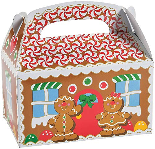 Christmas Treat Boxes, 12 Gingerbread House Cardboard Gable Cookie Boxes - for Candy, Cookies, Xmas Party Favor Supplies for Kids by 4E's Novelty