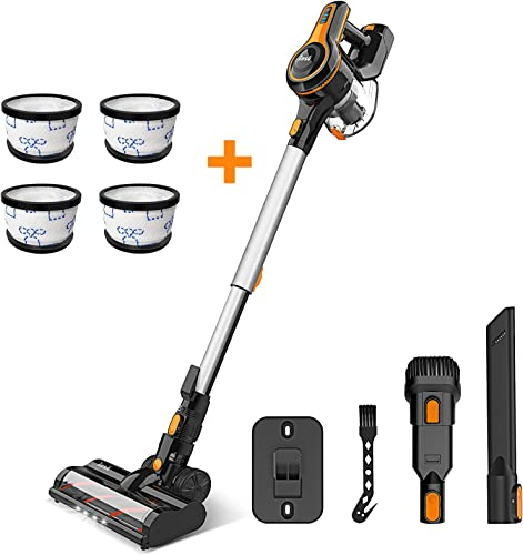 2021 Cordless Vacuum Cleaner, 23Kpa Strong Suction Stick Vacuum with 120000RPM High-Speed wholesale Brushless Motor, Lightweight high quality Handheld Vacuum Cleaner for Hardwood Floor Carpet Pet Hair with 4Pcs White Filters outlet sale