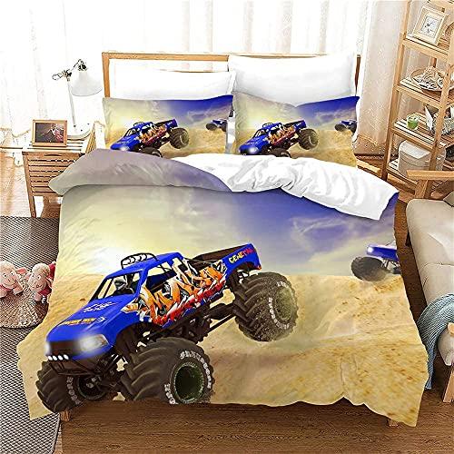 Proxiceen, Ropa de cama 3D, funda nórdica y funda de almohada, un camión grande como un gran coche deportivo, muy fresco y muy elegante (A8, 200 x 200 cm + 80 x 80 cm x2).