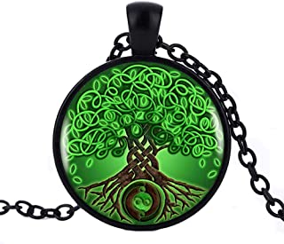 Celtic Vert Noeud Cabochon Verre Tibet Argent Chaîne Collier Pendentif
