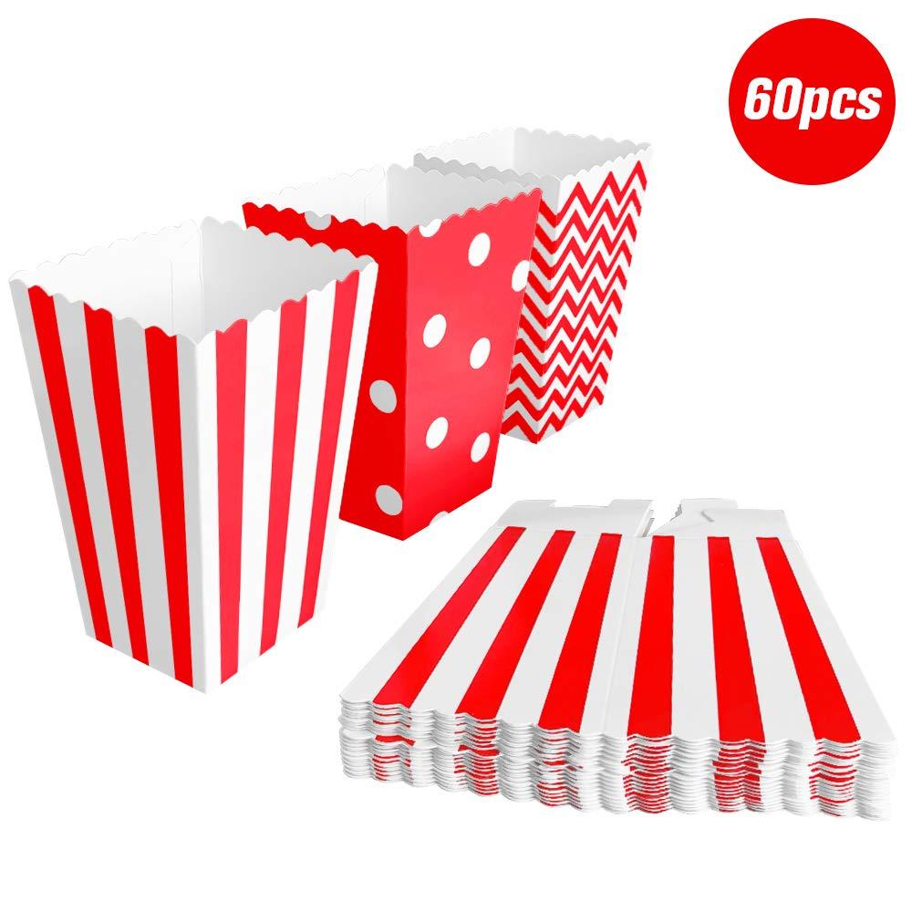 BangShou 60pcs Cajas de Palomitas Cartón Caramelo Contenedor Cine Pequeñas Cajas de Palomitas de Maíz 12 x 7.5cm (Rojo): Amazon.es: Juguetes y juegos