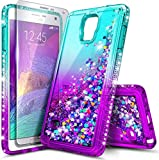 NZND Case for Samsung Galaxy Note 4 with Tempered Glass Screen Protector, Sparkle Glitter Flowing Liquid Quicksand with Shiny Bling Diamond, Women Girls Cute Phone Case Cover (Aqua/Purple)