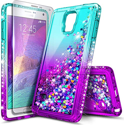 NZND Case for Samsung Galaxy Note 4 with Tempered Glass Screen Protector, Sparkle Glitter Flowing Liquid Quicksand with Shiny Bling Diamond, Women Girls Cute Phone Case Cover (Pink/Aqua)