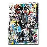 Orlco Art Cuadro moderno sobre lienzo graffiti arte Banksy, impresión de Charlie Chaplin pintura al óleo moderna para pared e impresiones decorativas para sala de estar, colorido 90 cm x 60 cm