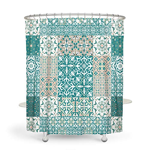 DESIHOM Boho Shower Curtain Green Shower Curtain Rustic Shower Curtain Farmhouse Shower Curtain Polyester Waterproof Shower Curtain 72x72 Inch
