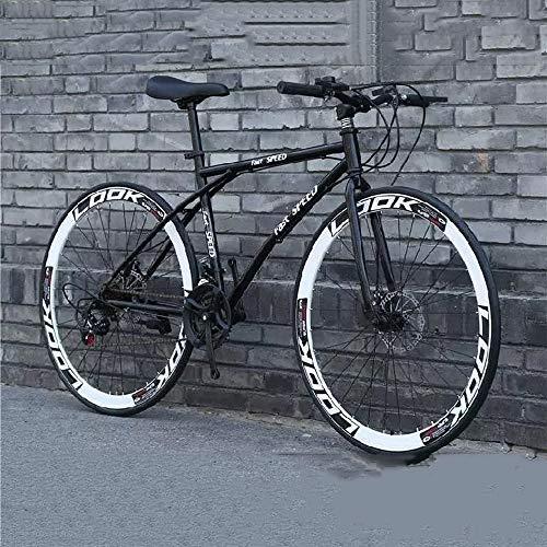 XSLY Road Bike uomo, 24 velocità da 26 pollici Biciclette delle donne, alto tenore di carbonio telaio in acciaio biciclette for adulti Road, doppio freno a disco in bicicletta da corsa, 168x95cm ester