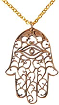 "product image for Hamsa Peace Bronze Pendant Necklace on 18"" Rolo Chain"