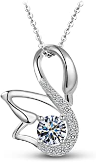 """T400 Jewelers""""Swan love"""" S925 Sterling Silver Swan Pendant Necklace Made With Swarovski Element"""