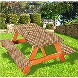 LEWIS FRANKLIN - Mantel ajustable para mesa de picnic y banco, estilo Azulejo Talavera tradicional con borde elástico, 28 x 72 pulgadas, juego de 3 piezas para mesa plegable