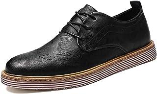 Men's Business Oxford Casual Autumn Winter Tie Wear-resistant Thickset Fundament Brogue Shoes casual shoes (Color : Black, Size : 41 EU)