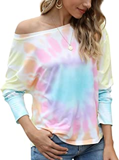Viracy Womens Tie Dye Shirt Long Sleeve Off Shoulder Crewneck Casual Tops Blouses