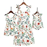 PopReal Mommy and Me Floral Printed Shoulder-Straps Bowknot Halter Chiffon Beach Mini Sundress,White,Small