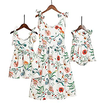 PopReal Mommy and Me Floral Printed Shoulder-Straps Bowknot Halter Chiffon Beach Mini Sundress,White,girl-6-7Y
