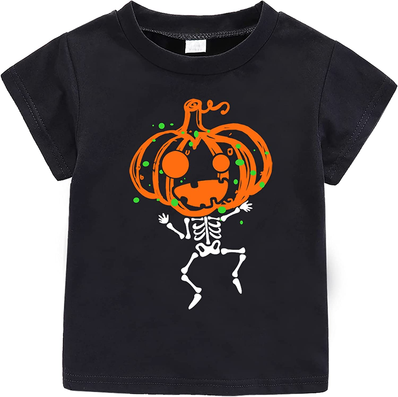 Halloween Toddler Baby Pumpkin Outfit Skeleton Short Sleeve T-Shirt Kids Tops for Boys Girls