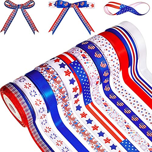 12 Rolls 60 Yards 4th of July Ribbons Red White Blue Grosgrain Ribbon Patriotic Stain Ribbons for DIY Wrapping Craft Decoration Hair Bow Wreath, 12 Styles