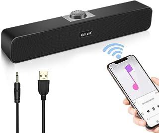 PC スピーカー WISH SUN【高音質 進化版】小型 大音量 サウンドバー Bluetooth5.0 テレビ/パソコン/スマホ/ゲーム機 USB有線給電 3.5mmAUX接続 コンパクト
