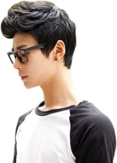 Xuanhemen Men Boys Wigs Full Hair Short Black Dark Brown Hair Men Male Fake Hair Cosplay Wigs Fiber