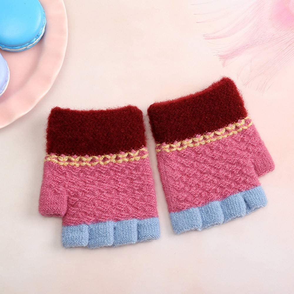 Newborn Baby Girls Boys Winter Candy Color Patchwork Keep Warm Mittens Gloves for 0-2 Years Old Little Kids Winter Warm Gloves,Colorful TM