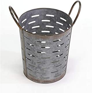 Durable Decorative Olive Basket Vintage | Free Standing Pail with Farmhouse Touch | Steel with 1 Quart Storage Capacity - Small