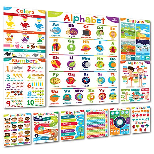 "Sproutbrite Educational Posters & Classroom Decorations Preschool - 11 - 20""x14"" Early Learning Charts for Toddlers, Pre-K, Kindergarten, Daycares & Home School Teachers"