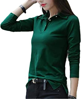 Agana Womens Casual Top Button Long Sleeve Solid Tee T-Shirts