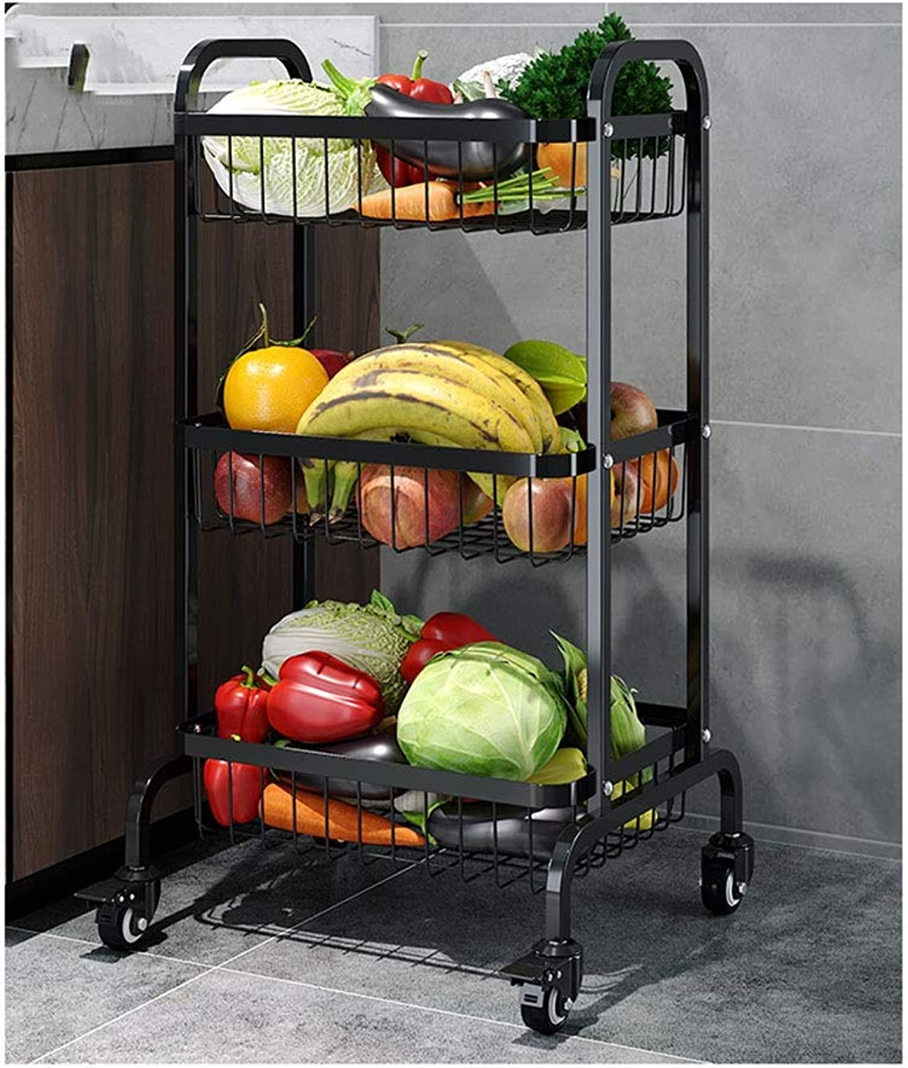 Kitchen Storage Rack Three Layers Metal Basket Storage Shelf with Pulley Fruit and Vegetable Shelf-Black Silver Organisation (color   A)