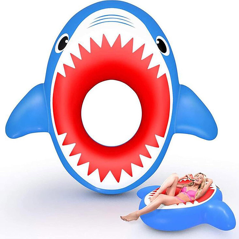 Binhe Flotador de tiburón hinchable para piscina de playa, juguete flotante para niños y adultos, decoración de piscina, diversión de verano (55 x 51 x 15 cm)