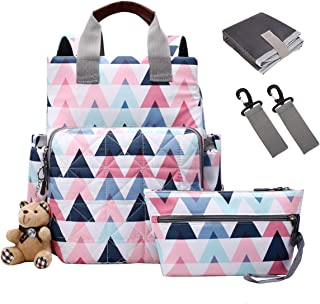ABage Diaper Bag Backpack Muiti-Function Waterproof Travel Nappy Backpack Large Capacity Maternity Nappy Storage Bag Fashion Mummy Bag with Small Bag, Stroller Straps and Changing Pad, Pink1
