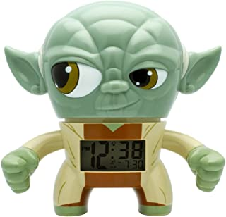 BulbBotz Star Wars Yoda Kids Light up Alarm Clock | Green/Brown | Plastic | 7.5 inches Tall | LCD Display | boy Girl | Official