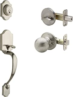 Copper Creek HZ2610xBK-SS Heritage Front Door Handleset with Ball Knob Interior Assembly in SS