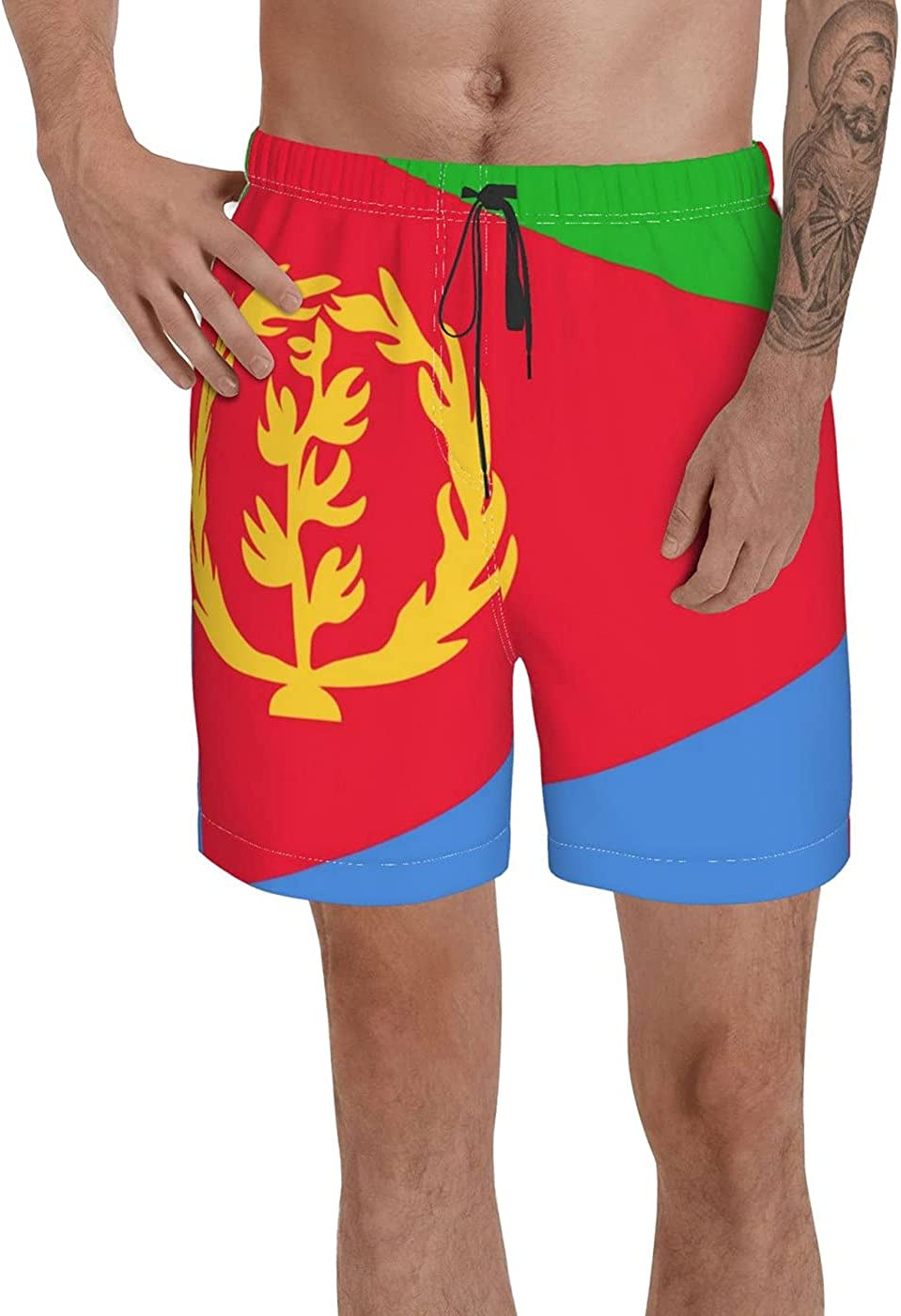 Count Eritrea Flag Men's 3D Printed Funny Summer Quick Dry Swim Short Board Shorts with