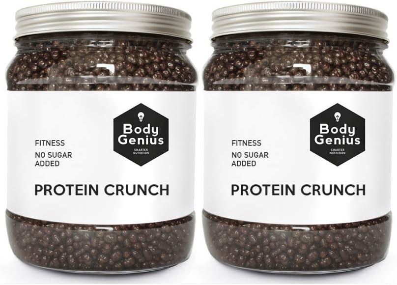 BODY GENIUS Dúo Protein Crunch (Chocolate Negro). 2x500g. Cereales Proteicos. Bolitas de Proteína Recubiertas de Chocolate Sin Azúcar. Bajo en ...