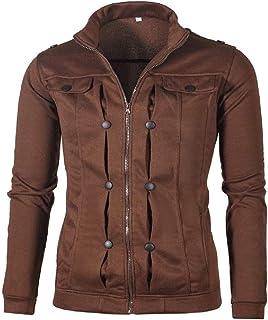 XINHEO Men's Plus Velvet Fit Stand Collar Cardi Zip-up Sweatshirts Jackets
