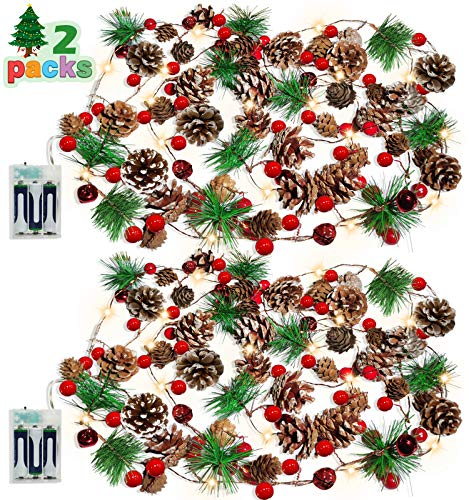 Christmas Pinecone Lights 7 FT 20 LED Battery Operated Red Berry with Pine Cone Garland Lights Indoor Outdoor Thanksgiving Decorations Christmas Party