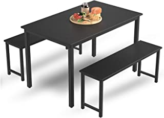 MIERES Table Set 2 Benches Small Kitchen Dining Room...