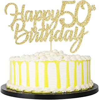 PALASASA Gold Happy Birthday cake topper - Hello 50, Cheers to 50 Years, 50 Anniversary/Birthday Cake Topper Party Decoration (50th)